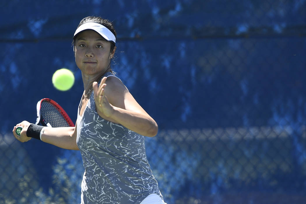 UNLV senior Aiwen Zhu, shown last season, advanced to the Flight One singles and doubles finals Saturday in the Rebel Invitational at Fertitta Tennis Complex. (Tim Nwachukwu/NCAA)