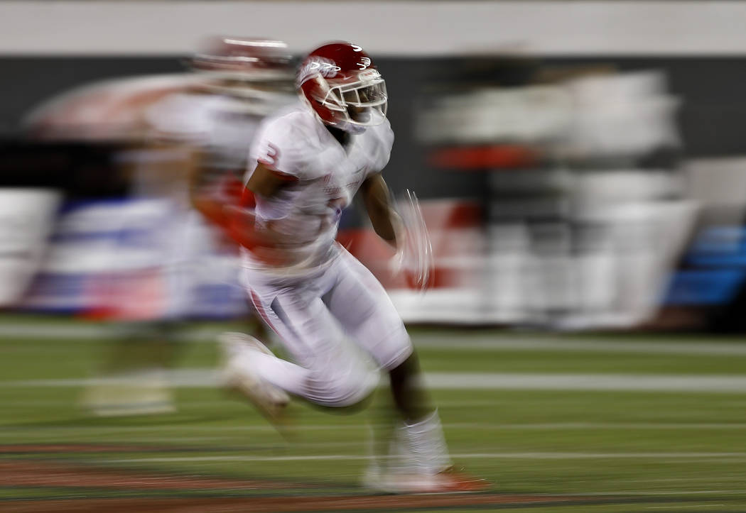 Fresno State wide receiver KeeSean Johnson runs after making a reception against the UNLV during the second half of an NCAA college football game Saturday, Nov. 3, 2018, in Las Vegas. (AP Photo/Jo ...