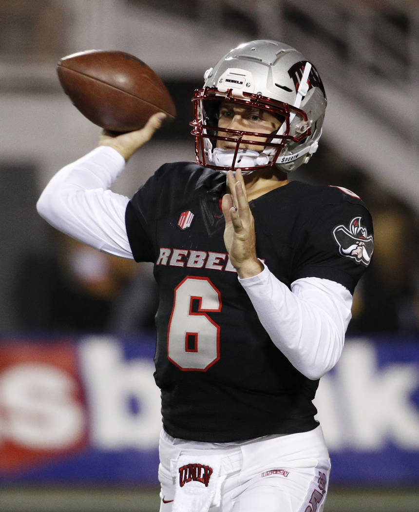 UNLV Rebels quarterback Max Gilliam (6) throws a pass against the Fresno State Bulldogs during the first half of an NCAA college football game Saturday, Nov. 3, 2018, in Las Vegas. (AP Photo/John ...