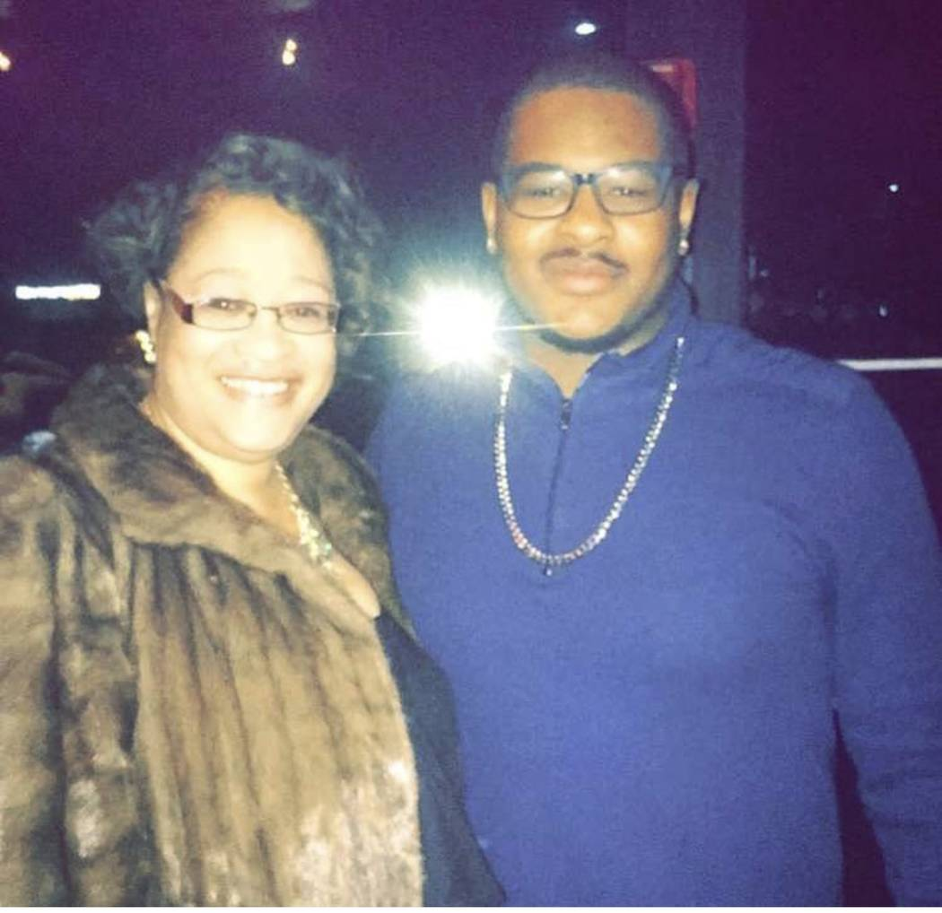 "Judy Bowe (left) and her son Julius Bowe. Judy was six months pregnant with Julius when she fainted during the ""Fan Man"" crash at Caesars Palace. (Courtesy of Judy Bowe)"