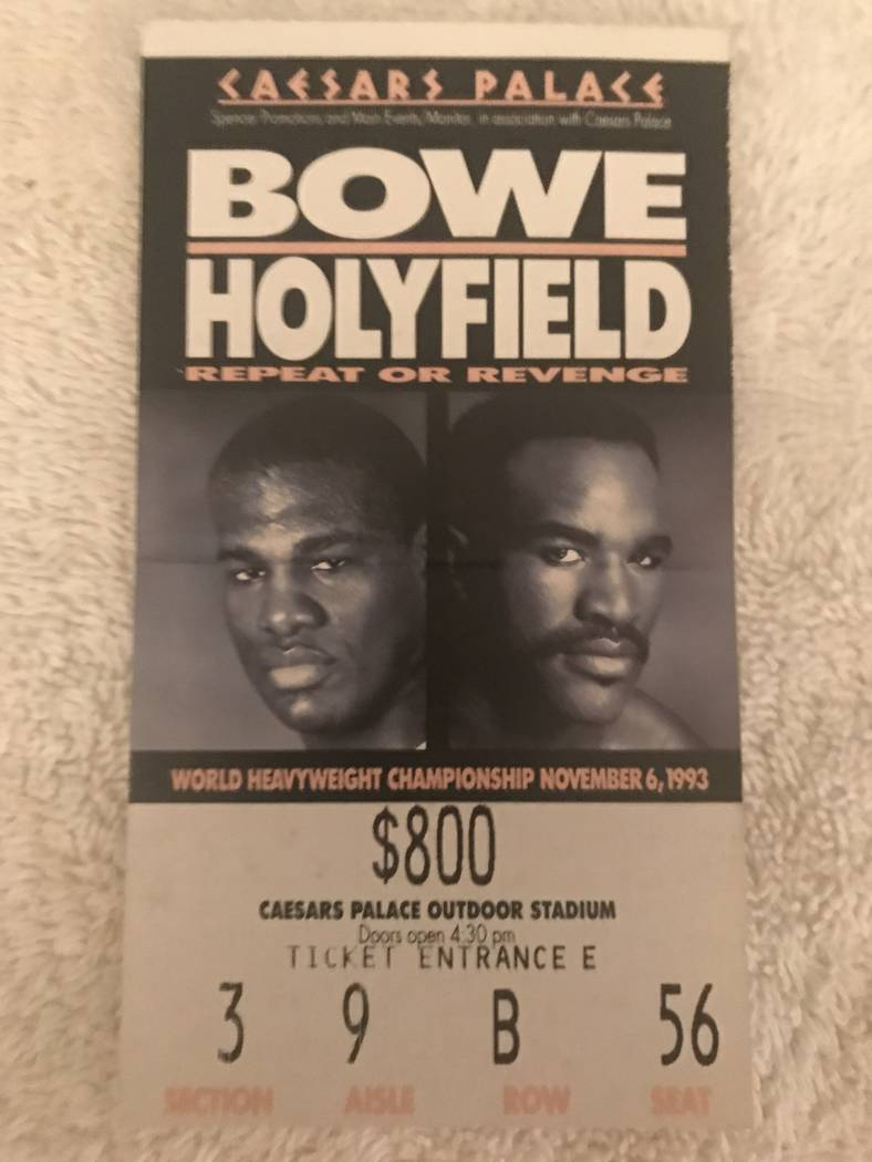 A picture of Marc Ratner's ticket for the Riddick Bowe-Evander Holyfield rematch in 1993. Ratner was the executive director for the Nevada Athletic Commission at the time.