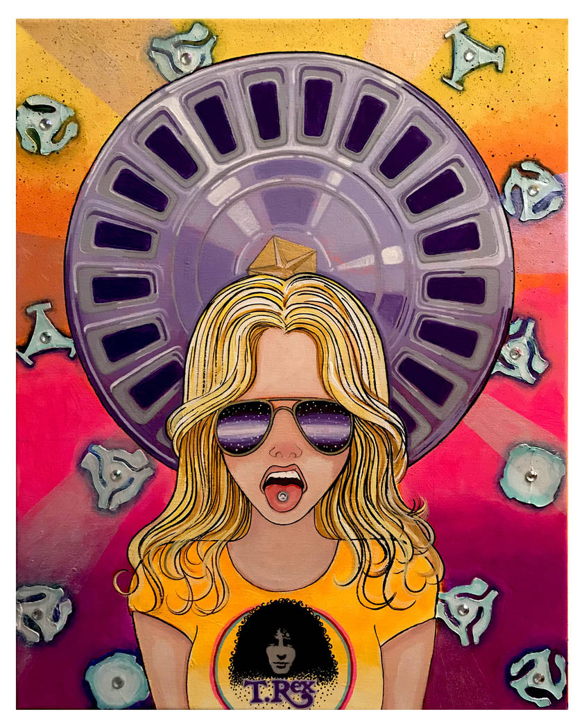 """Hubcap Diamond Star Halo,"" by Annie Wildbear (acrylic/mixed media on canvas)"