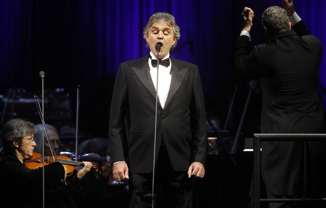 Singer Andrea Bocelli performs during a concert at Madison Square Garden Thursday, Dec. 2, 2010 in New York. (AP Photo/Jason DeCrow) Jason DeCrow Singer Andrea Bocelli performs during a conce ...