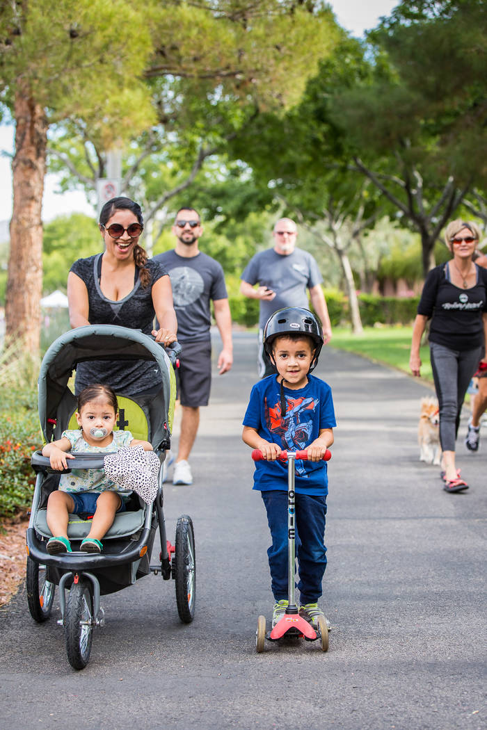 Henderson Stroll 'n Roll participants take to the street in a stroller, on a scotter and on their feet. Courtesy City of Henderson