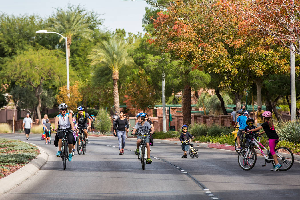 A group of bicyclists takes to the street during a previous edition of Henderson Stroll 'n Roll. Courtesy City of Henderson