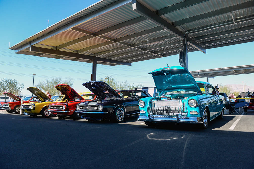 Multiple vintage cars line the lot at the 4th Annual Veterans Day Car Show and BBQ in celebration of Veterans Day at the VA Southern Nevada Healthcare System Medical Center in North Las Vegas, Sat ...