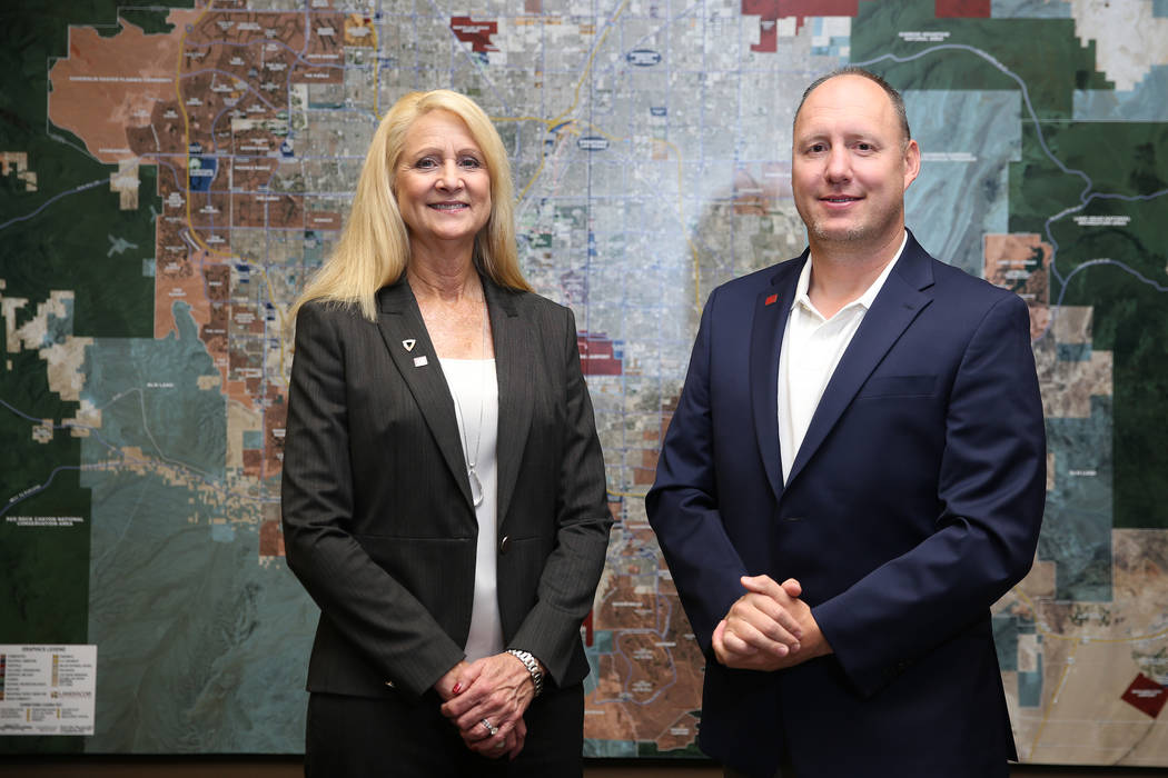 Sun Commercial Real Estate owner Cathy Jones, left, and broker Roy Fritz, at their Las Vegas office, Thursday, Oct. 25, 2018. Erik Verduzco Las Vegas Review-Journal @Erik_Verduzco