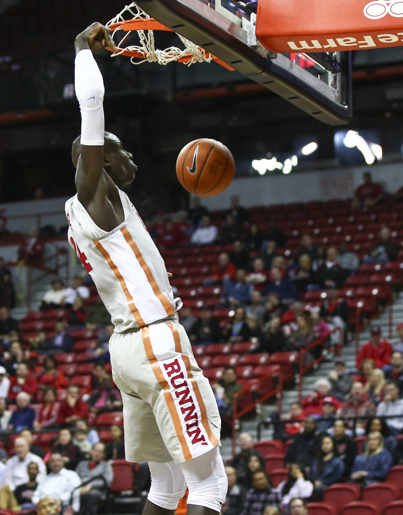 UNLV Rebels forward Cheikh Mbacke Diong (34) dunks against the UC Riverside Highlanders during the second half of a basketball game at the Thomas & Mack Center in Las Vegas on Tuesday, Nov. 13 ...