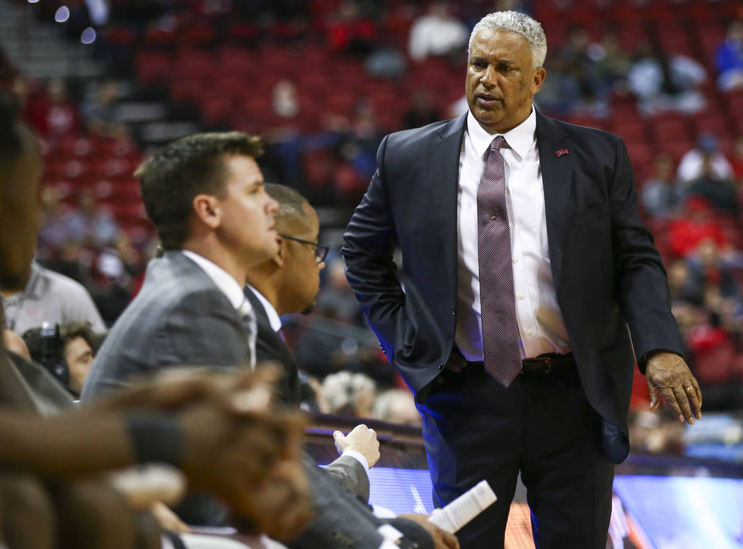 UNLV Rebels head coach Marvin Menzies during the second half of a basketball game against the UC Riverside Highlanders at the Thomas & Mack Center in Las Vegas on Tuesday, Nov. 13, 2018. Chase ...