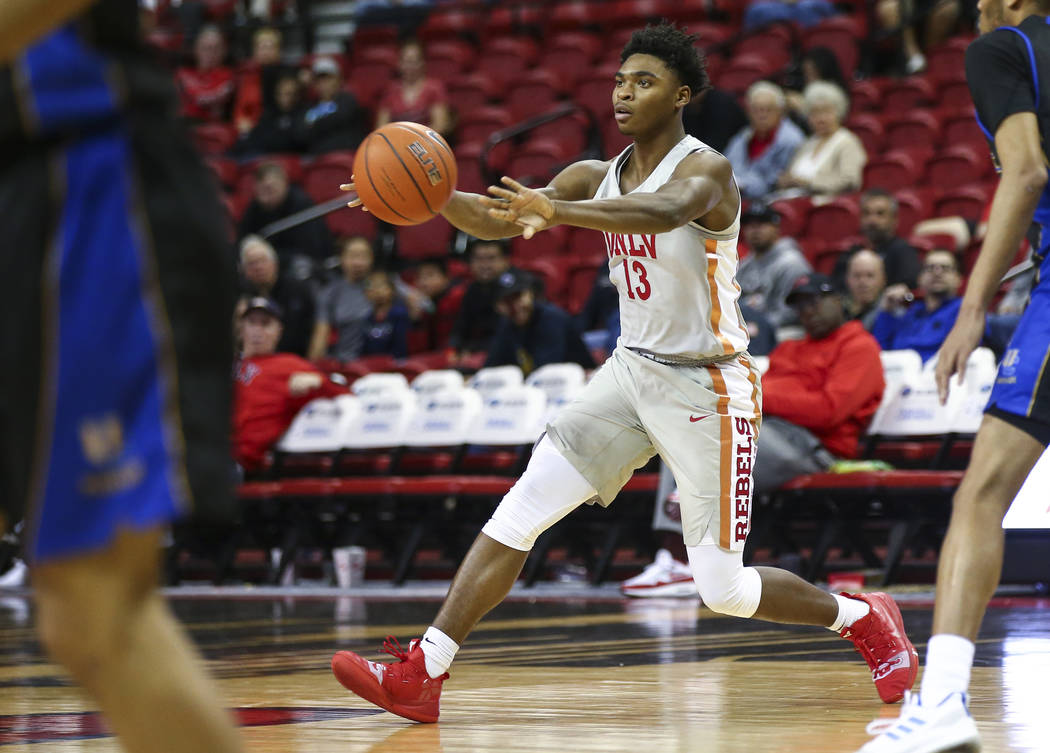 UNLV Rebels guard Bryce Hamilton (13) throws a pass during the second half of a basketball game against the UC Riverside Highlanders at the Thomas & Mack Center in Las Vegas on Tuesday, Nov. 1 ...