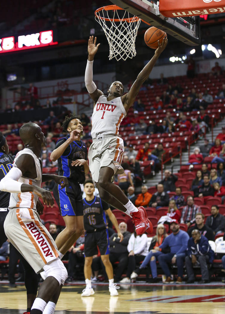 UNLV Rebels guard Kris Clyburn (1) goes to the basket to score against the UC Riverside Highlanders during the second half of a basketball game at the Thomas & Mack Center in Las Vegas on Tues ...