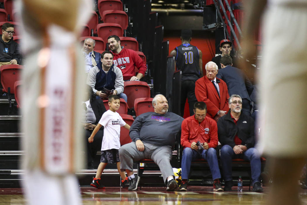 UC Riverside Highlanders forward Ajani Kennedy (10) leaves the arena after being ejected from a basketball game against the UNLV Rebels at the Thomas & Mack Center in Las Vegas on Tuesday, Nov ...