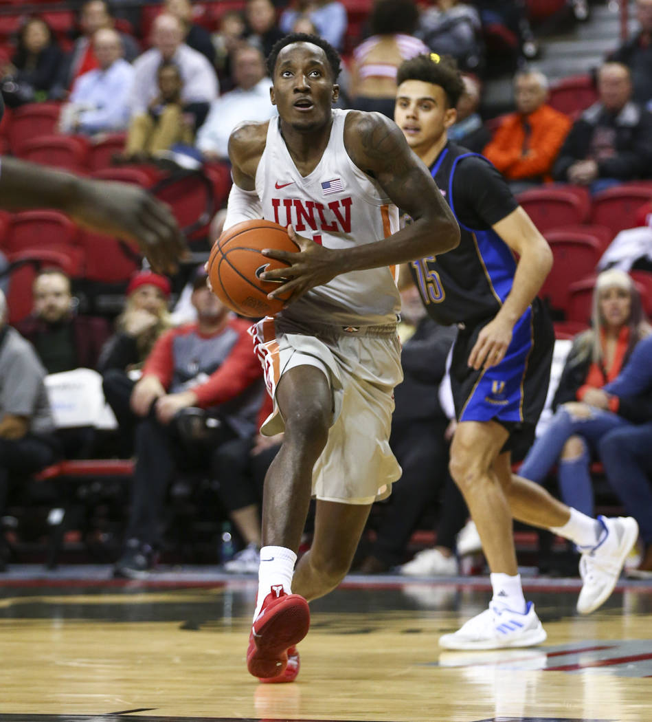 UNLV Rebels guard Kris Clyburn (1) drives to the basket against the UC Riverside Highlanders during the second half of a basketball game at the Thomas & Mack Center in Las Vegas on Tuesday, No ...