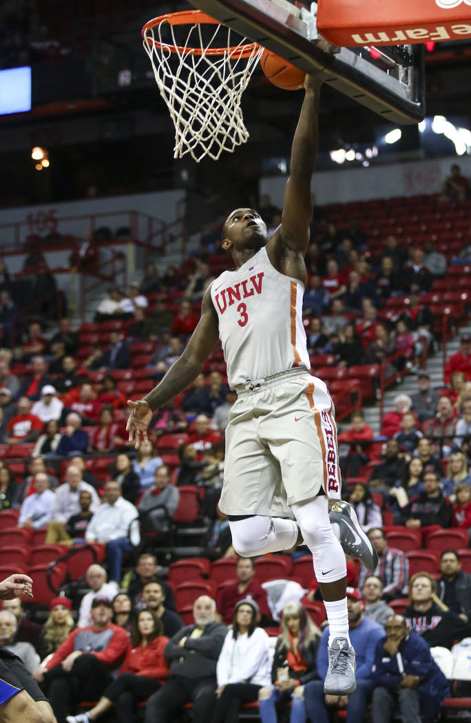 UNLV Rebels guard Amauri Hardy (3) goes to the basket to score against the UC Riverside Highlanders during the second half of a basketball game at the Thomas & Mack Center in Las Vegas on Tues ...