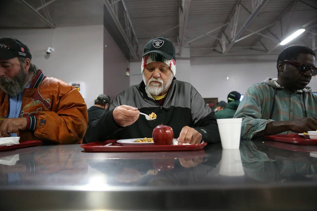 Jack Vanderwaal eats a lunch meal at the Catholic Charities of Southern Nevada in Las Vegas, Wednesday, Nov. 14, 2018. Erik Verduzco Las Vegas Review-Journal @Erik_Verduzco