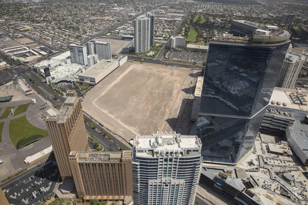 Ex-NBA player Jackie Robinson's arena and hotel project site on the Las Vegas Strip is seen in this aerial photo taken Wednesday, August 22, 2018. (Benjamin Hager/Las Vegas Review-Journal)