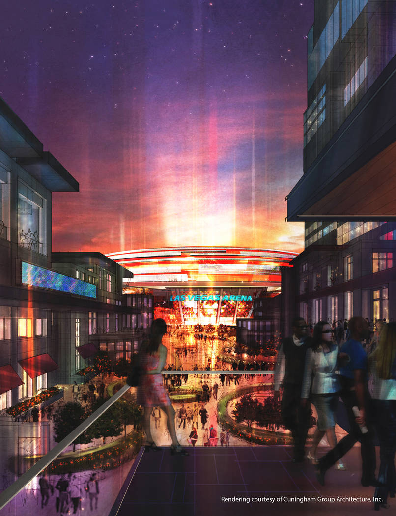 This rendering, released in December 2013, depicts the arena and hotel project that ex-NBA player Jackie Robinson set out to build on the Las Vegas Strip. The project has not been built. (Cunningh ...