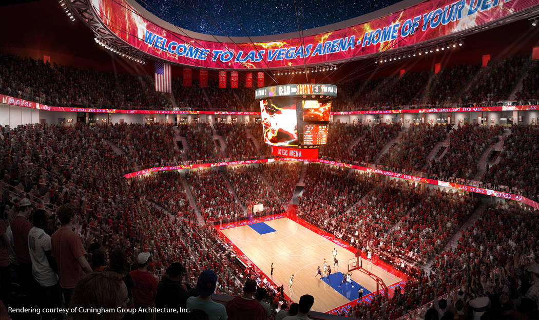 This rendering, released in December 2013, depicts the arena that ex-NBA player Jackie Robinson set out to build on the Las Vegas Strip. The project has not been built. (Cunningham Group Architecture)