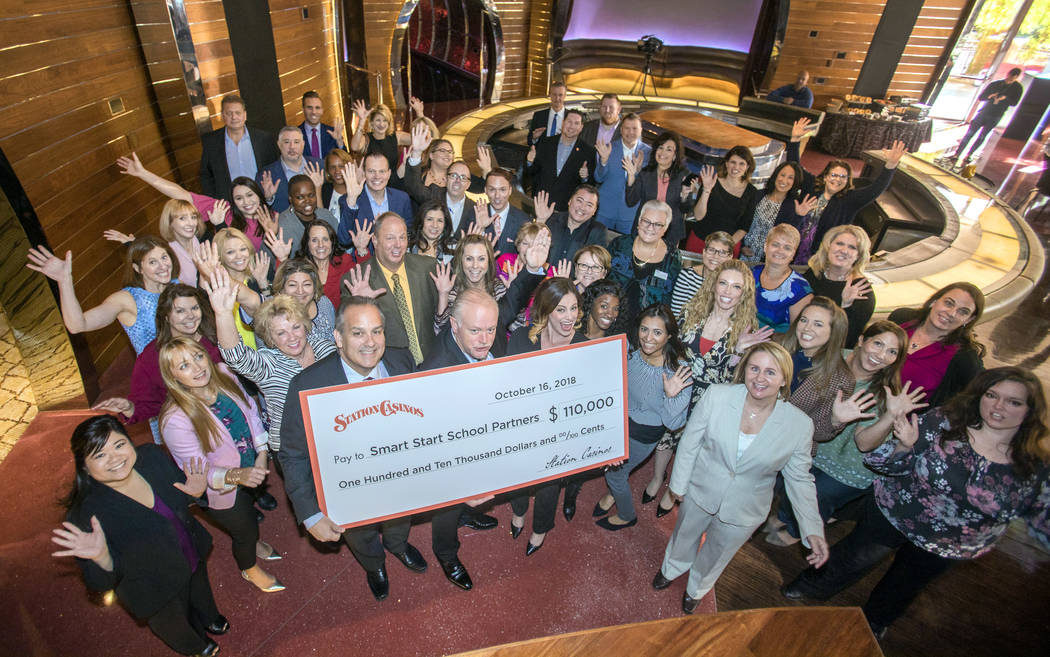 Smart Start donation breakfast that was held recently where Station Casinos donated $110,000 ($10,000 to each of the 11 schools). Pictured are Station Casinos property GMs, school principals and t ...