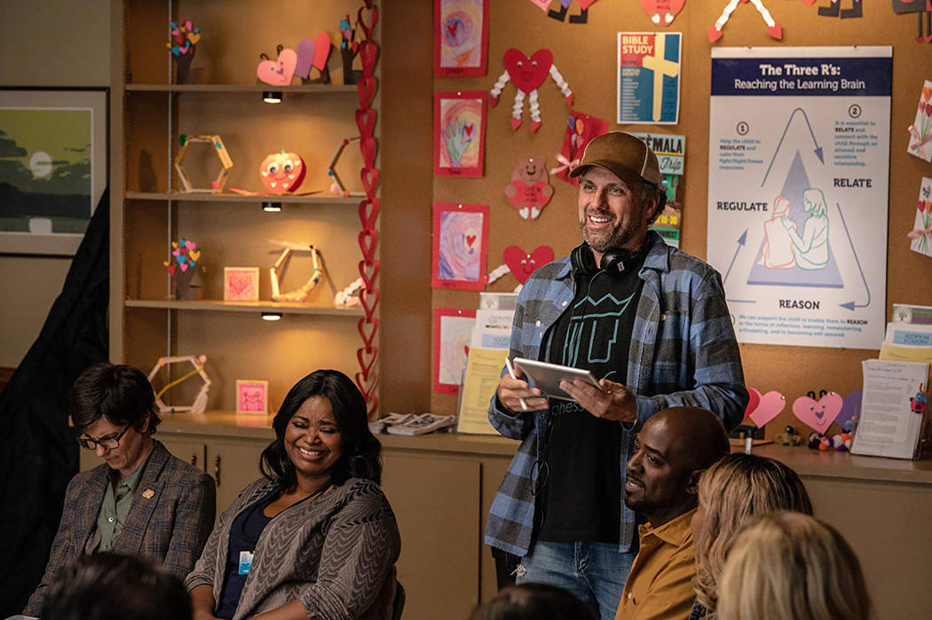 """Director Sean Anders with Tig Notaro, left, and Octavia Spencer on the set of """"Instant Family."""" (Paramount Pictures"""