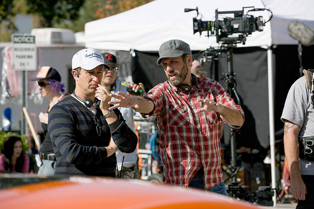 """Director Sean Anders, right, on the set of the 2015 comedy """"Daddy's Home."""" (Patti Perret/Paramount Pictures)"""