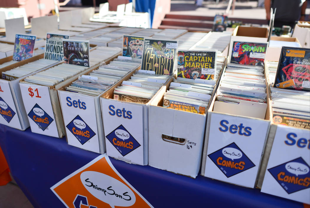 Boxes filled with comic books wait for fans to arrive at the 11th annual Vegas Valley Comic Book Festival at the Clark County Library in Las Vegas on Saturday, Nov. 3, 2018. Brett Le Blanc Las Veg ...