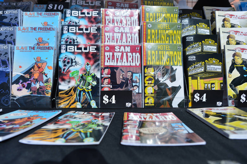 Comic books from Plot Twist Publishing, a Las Vegas based publisher, sit on display at the 11th annual Vegas Valley Comic Book Festival at the Clark County Library in Las Vegas on Saturday, Nov. 3 ...