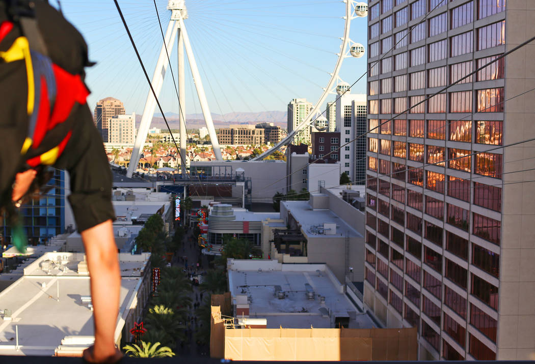 The new Fly Linq Zipline at the Linq Hotel in Las Vegas, Thursday, Nov. 1, 2018. Participants start at the Strip, then fly over the Linq Promenade towards the Linq High Roller. Rachel Aston Las Ve ...