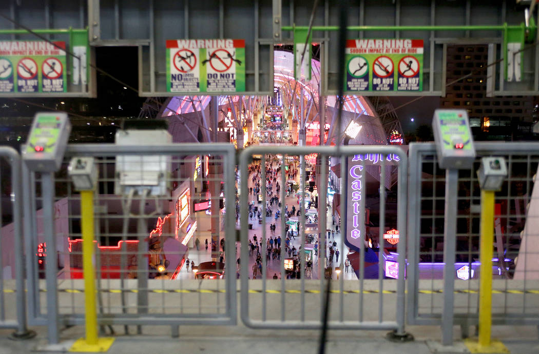 The view from the first level of the SlotZilla Zipline at the Fremont Street Experience in Las Vegas, Thursday, Nov. 1, 2018. Participants start near Las Vegas Boulevard, then fly over crowds and ...