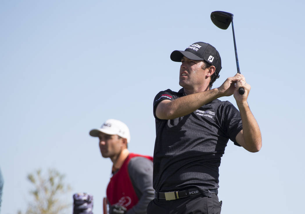Robert Streb watches his drive from the 18th tee box during the first round of the Shriners Hospitals For Children Open tournament at TPC at Summerlin in Las Vegas on Thursday, Nov. 1, 2018. Richa ...