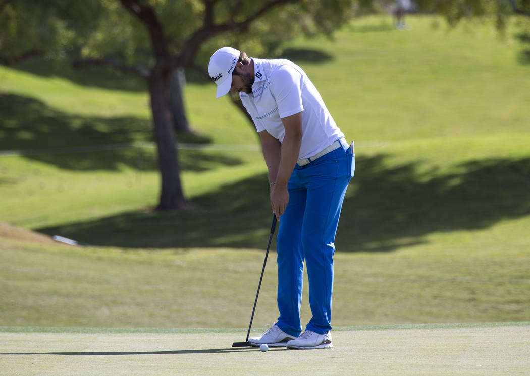 Peter Uihlein putts on the 9th green during the first round of the Shriners Hospitals For Children Open tournament at TPC at Summerlin in Las Vegas on Thursday, Nov. 1, 2018. Richard Brian Las Veg ...