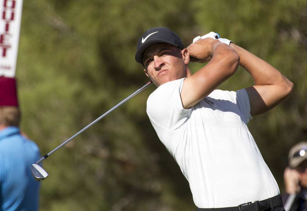 Cameron Champ tees off from the first during the third round of the Shriners Hospitals for Children Open tournament at TPC at Summerlin in Las Vegas on Saturday, Nov. 3, 2018. Richard Brian Las Ve ...