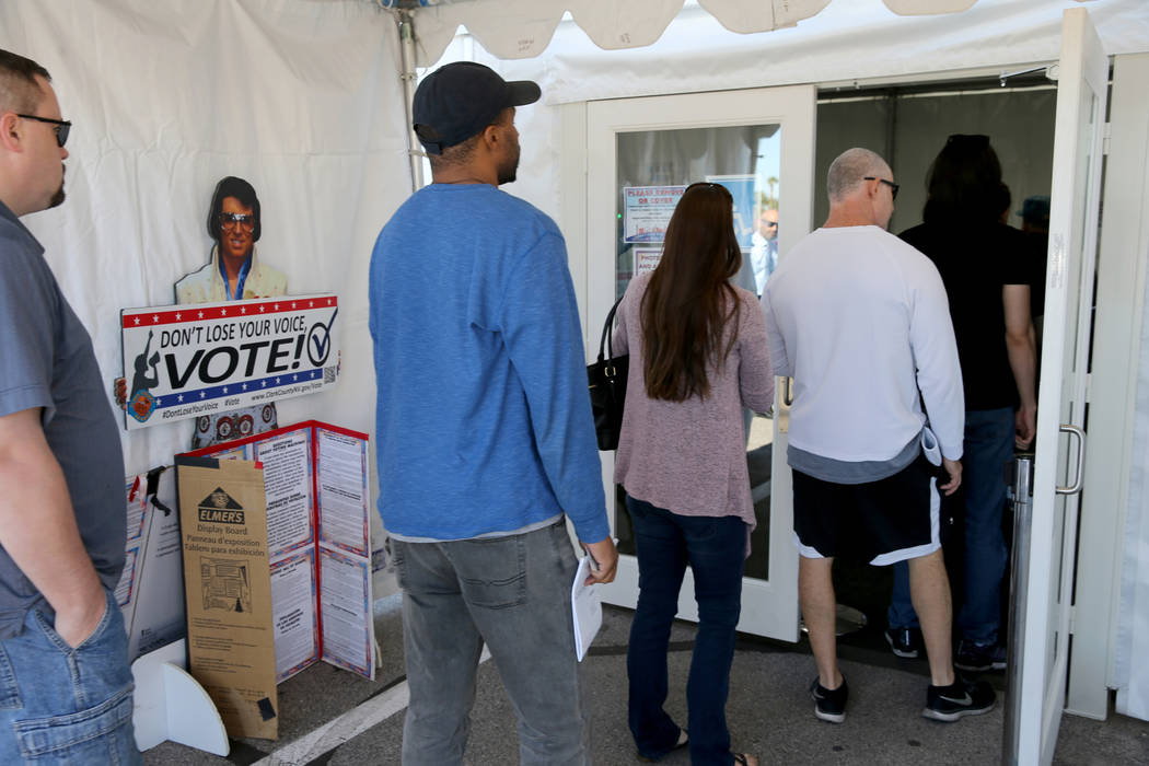 Early voters line up to cast their ballots at Silverado Ranch Plaza in Las Vegas Thursday, Nov. 1, 2018. The final day of early voting is Friday. Election day is Tuesday, Nov. 6. K.M. Cannon Las V ...