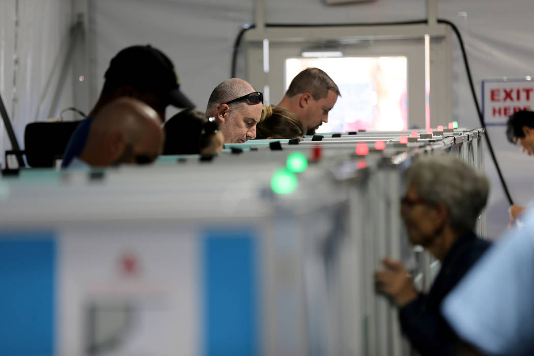 Early voters cast their ballots at Silverado Ranch Plaza in Las Vegas Thursday, Nov. 1, 2018. The final day of early voting is Friday. Election day is Tuesday, Nov. 6. K.M. Cannon Las Vegas Review ...