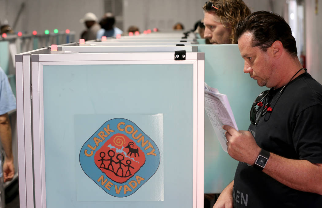 Charles Anderson of Las Vegas casts his ballot at Silverado Ranch Plaza in Las Vegas Thursday, Nov. 1, 2018. The final day of early voting is Friday. Election day is Tuesday, Nov. 6. K.M. Cannon L ...