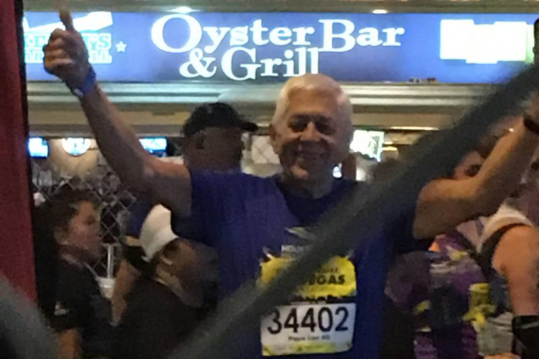 Lee Miksch celebrates after the Rock 'n' Roll Half Marathon in Las Vegas in 2016. (Photo by Pat Miksch)