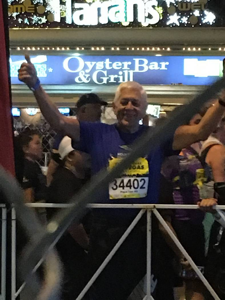 Lee Miksch celebrates after the Rock 'n' Roll Half Marathon in Las Vegas in 2016. (Photo by Pat Miksch)