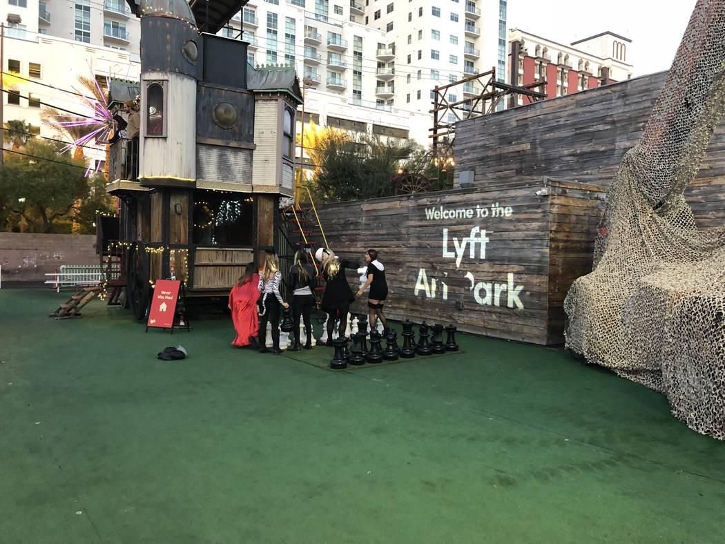Lyft's Art Park in downtown Las Vegas serves as something of an outdoor museum for wayward art installations. (Janna Karel/Las Vegas Review-Journal)