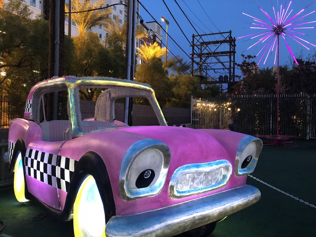 """""""Never Was Haul"""" is an art car with a front door that's open to visitors. (Janna Karel/Las Vegas Review-Journal)"""