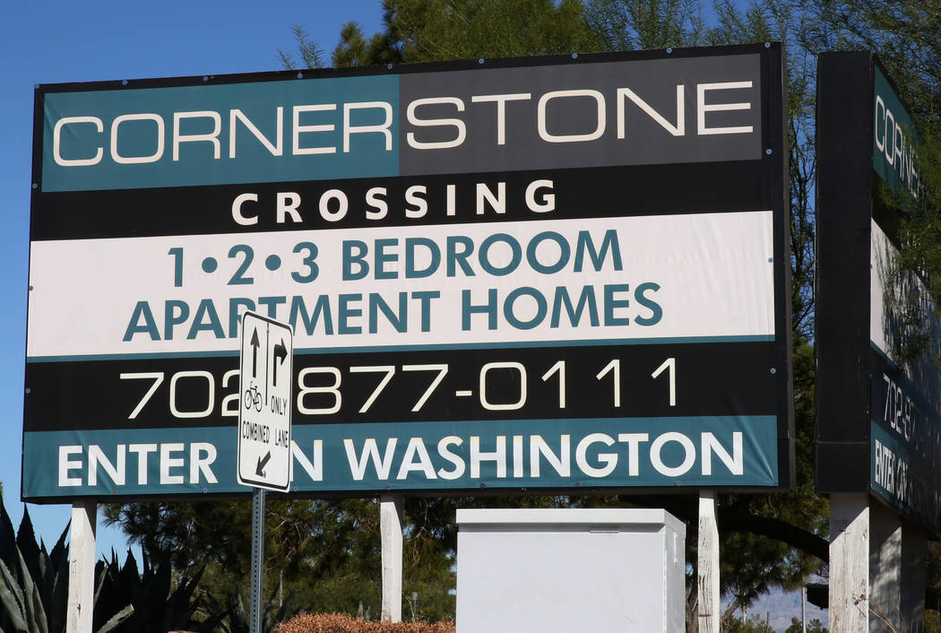Cornerstone Crossing apartments sign on 6666 W. Washington Ave., is seen on Friday, Oct. 19, 2018, in Las Vegas. Bizuayehu Tesfaye/Las Vegas Review-Journal @bizutesfaye