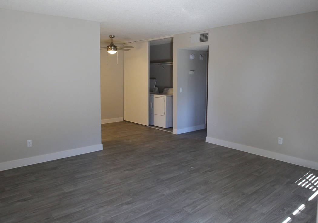 A newly renovated living room inside a one bedroom apartment at Cornerstone Crossing apartments on 6666 W. Washington Ave., photographed on Friday, Oct. 19, 2018, in Las Vegas. Bizuayehu Tesfaye/L ...