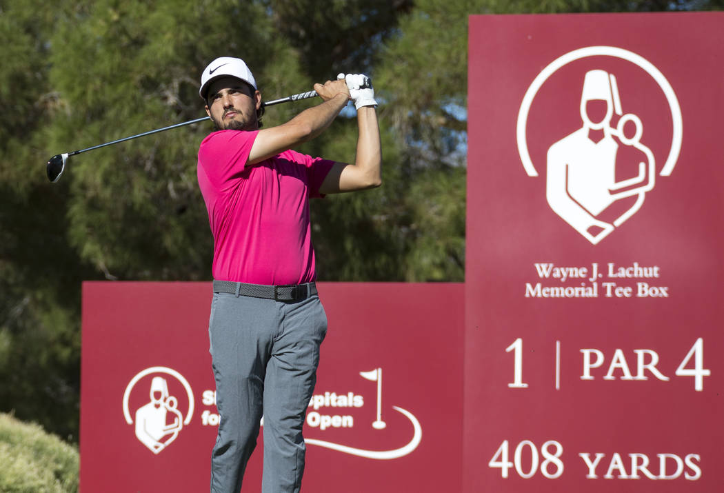 Abraham Ancer of Mexico tees off from the first during the second round of the Shriners Hospitals for Children Open tournament at TPC at Summerlin in Las Vegas on Friday, Nov. 2, 2018. Richard Bri ...