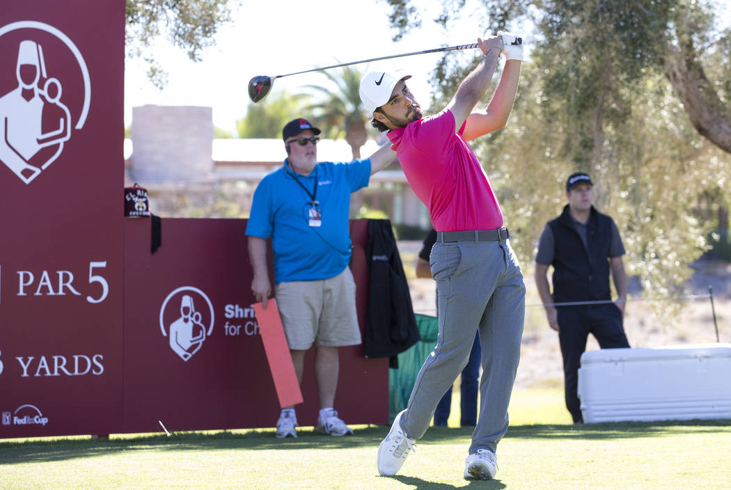 Abraham Ancer of Mexico tees off from the ninth during the second round of the Shriners Hospitals for Children Open tournament at TPC at Summerlin in Las Vegas on Friday, Nov. 2, 2018. Richard Bri ...