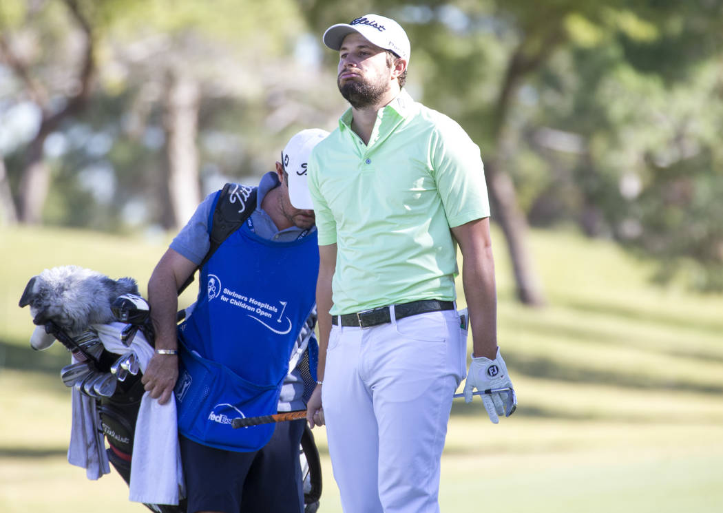 Peter Uihlein reacts after taking a shot from the ninth fairway during the second round of the Shriners Hospitals For Children Open tournament at TPC at Summerlin in Las Vegas on Friday, Nov. 2, 2 ...