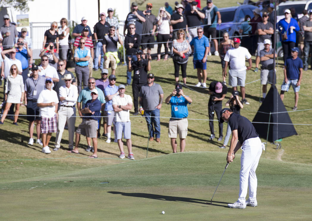 Jordan Spieth putts on the ninth green during the second round of the Shriners Hospitals For Children Open tournament at TPC at Summerlin in Las Vegas on Friday, Nov. 2, 2018. Richard Brian Las Ve ...