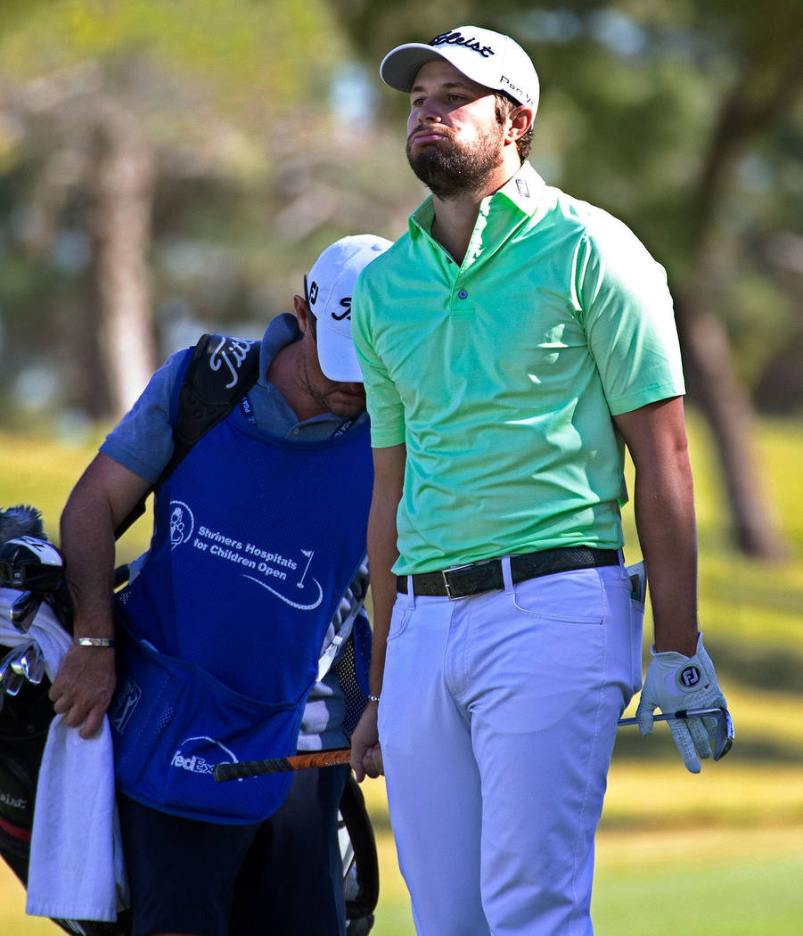 Peter Uihlein reacts after a shot on the ninth fairway during the second round of the Shriners Hospitals for Children Open golf tournament at TPC at Summerlin in Las Vegas on Friday, Nov. 2, 2018. ...