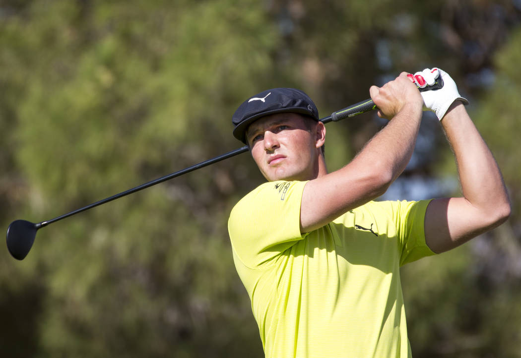 Bryson DeChambeau tees off from the first during the third round of the Shriners Hospitals for Children Open tournament at TPC at Summerlin in Las Vegas on Saturday, Nov. 3, 2018. Richard Brian La ...