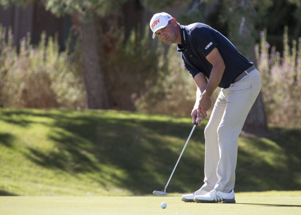 Lucas Glover putts on the seventh green during the third round of the Shriners Hospitals for Children Open tournament at TPC at Summerlin in Las Vegas on Saturday, Nov. 3, 2018. Richard Brian Las ...