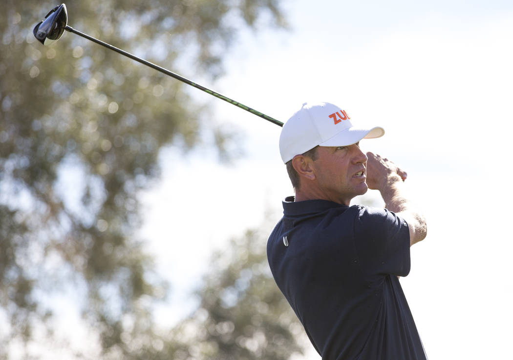 Lucas Glover tees off from the ninth during the third round of the Shriners Hospitals for Children Open tournament at TPC at Summerlin in Las Vegas on Saturday, Nov. 3, 2018. Richard Brian Las Veg ...