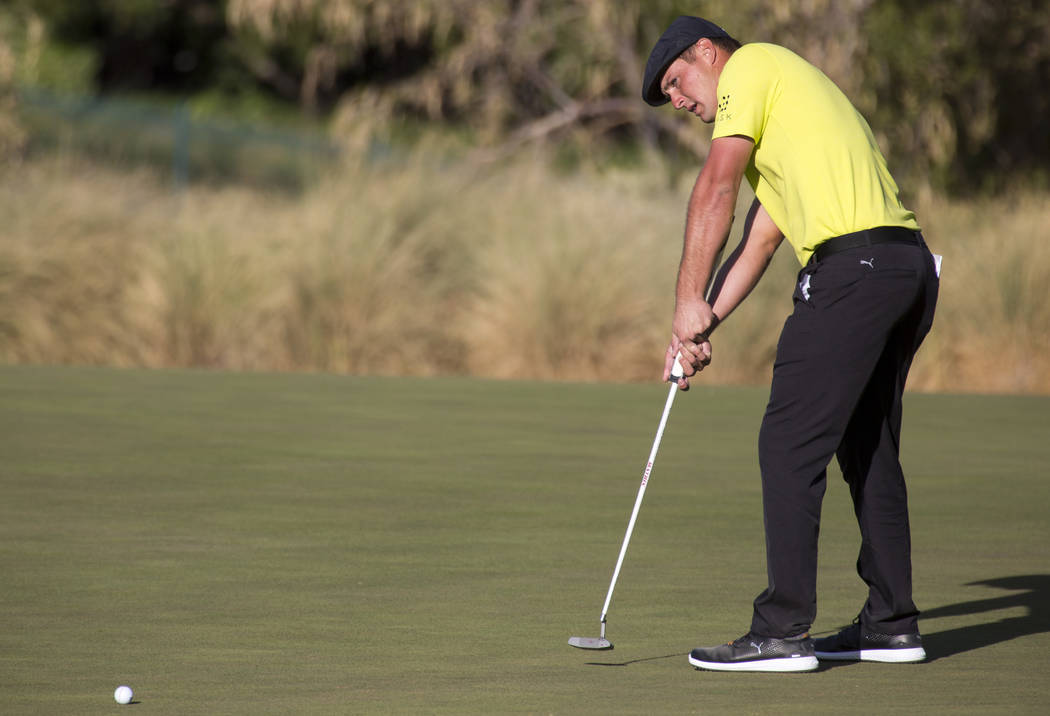 Bryson DeChambeau putts on the 17th during the third round of the Shriners Hospitals for Children Open tournament at TPC at Summerlin in Las Vegas on Saturday, Nov. 3, 2018. Richard Brian Las Vega ...